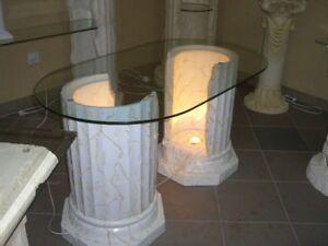 Ovaler Couchtisch Wohnzimmertisch Glastisch Beleuchtet Saulentisch