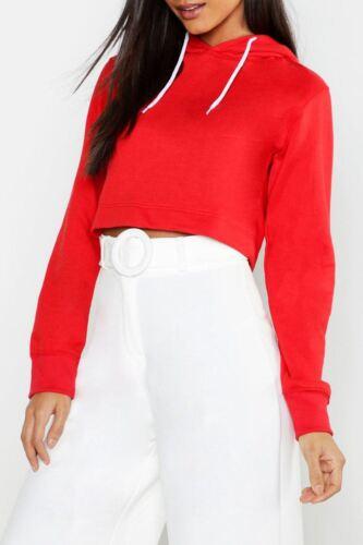 Women  Fleece Sweatshirt Ladies Plain Crop Hoody Long Sleeve Pullover Hooded Top