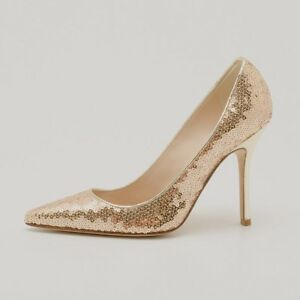 5cacb0a17b0 Image is loading MANOLO-BLAHNIK-M-TUCCIO-Gold-SEQUIN-Pump-High-