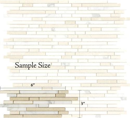 SAMPLE Bullet Crema Marfil Carrara Limestone Marble Kitchen Bathroom Mosaic Tile