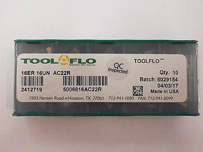 10pc ToolFlo 16ER 16UN AC22R Laydown Coated Carbide 16 TPI Threading Inserts