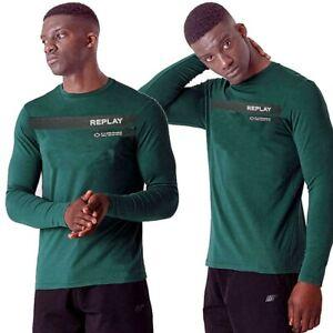REPLAY-t-shirt-da-uomo-manica-lunga-girocollo-maglietta-cotone-verde-stampa-logo