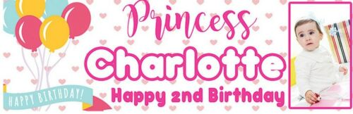 2 Personalised Birthday Banner Photo Balloon Hearts Adults Children Party poster
