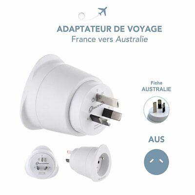 Adaptateur de voyage France//Europe vers Australie//Chine 3 broches Blanc Neuf FR