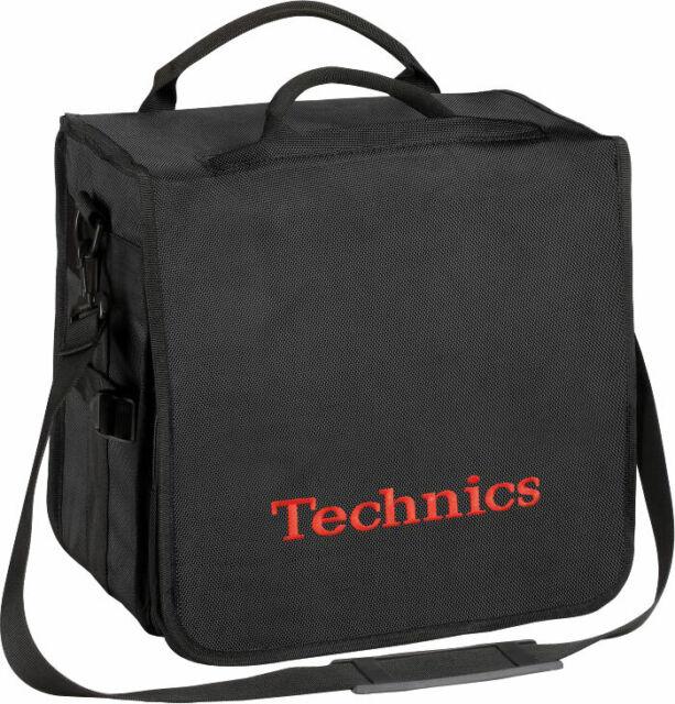 Technics Backbag Black Logo Rot - Tasche Rucksack da Dj für 45 Scheiben in Vinyl
