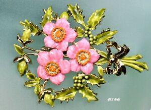Vintage-Enamel-Flower-Bouquet-Brooch-Flowers-Pin