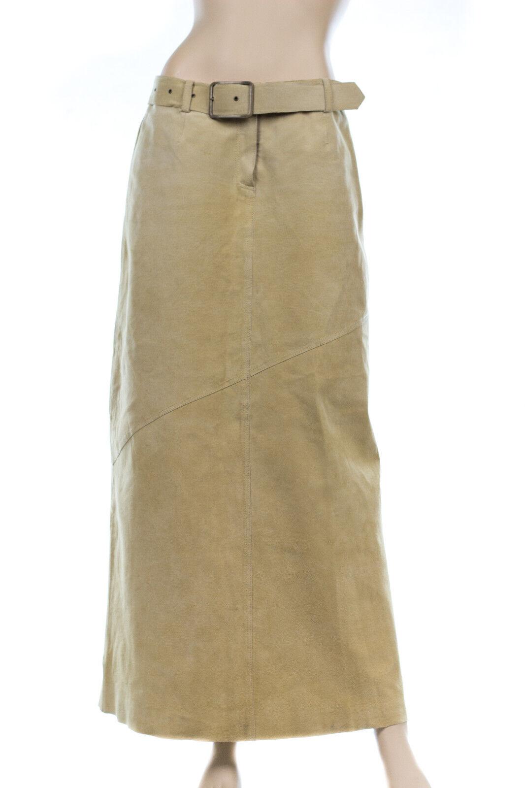 Margaret Godfrey Khaki Beige Genuine Suede Leather Belt Maxi Long Skirt Size 6