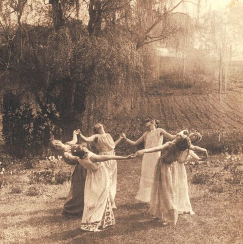 Victorian Coven Circle of Witches Dancing Vintage Pagan Photograph Museum Print