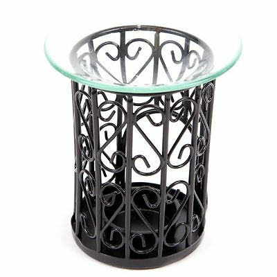 NEW BLACK METAL SCROLL MESH  OIL BURNER WITH GLASS DISH 12cm OB99