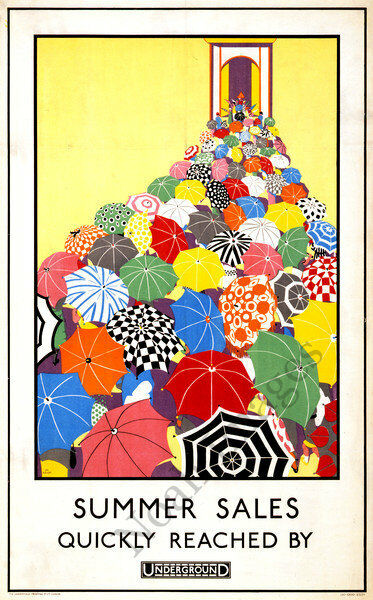 Vintage Summer Sales travel poster repro 24x36