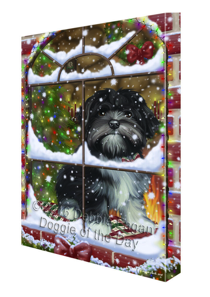Please Come Home For Christmas Lhasa Apso Hund Sitting In Window Canvas Wand Kunst