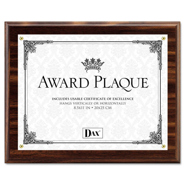 DAX N15818T Award Plaque Wood/acrylic Frame up to 8 1/2 X 11 Walnut ...