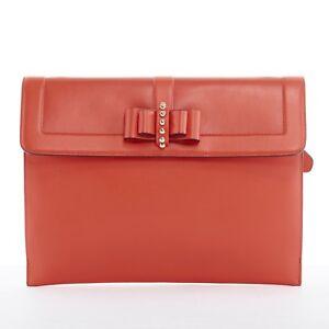 c25c5de9a72 Details about CHRISTIAN LOUBOUTIN red leather gold studded bow flap flat  clutch shoulder bag