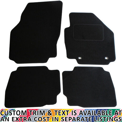 Black JVL Fully Tailored 4-Piece Car Mat Set with 2 Oval Clips