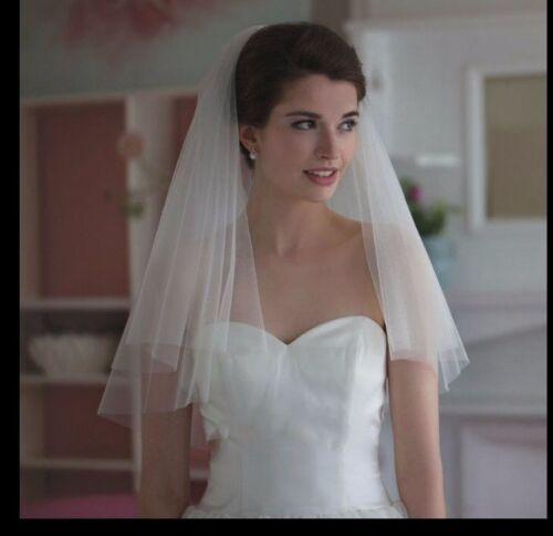 2 tier short veil soft tulle US SELLER  veil high quality white or ivory veil