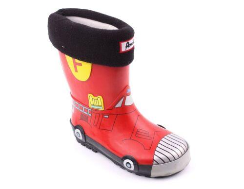Boys Wellington Boots Wellies Fire Engine Design Size UK 5-12.5 Kids NEW