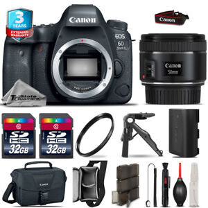 Canon EOS 6D Mark II DSLR Camera + 50mm 1.8 STM + 3yr Warranty - 64GB Kit Bundle