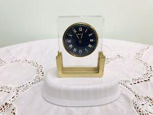 Bulova Desk Clock-1960's-Lucite & Brass-Alarm- Blue Face-