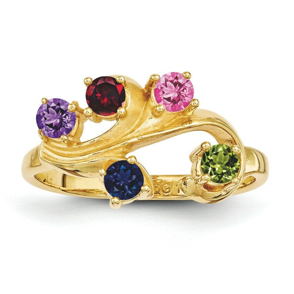 Family Tree Ring 14K Solid gold 1 to 5 Round Birthstones, Mother Day Rings