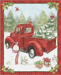 Christmas-Red-Truck-Snowman-Snow-Fun-Cotton-Fabric-CP669167-36-034-X44-034-Wall-Panel