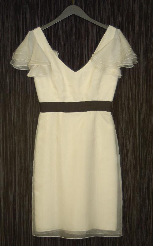NWT MILLY ECRU Silk Deep V Flutter Dress 6 NEW  445