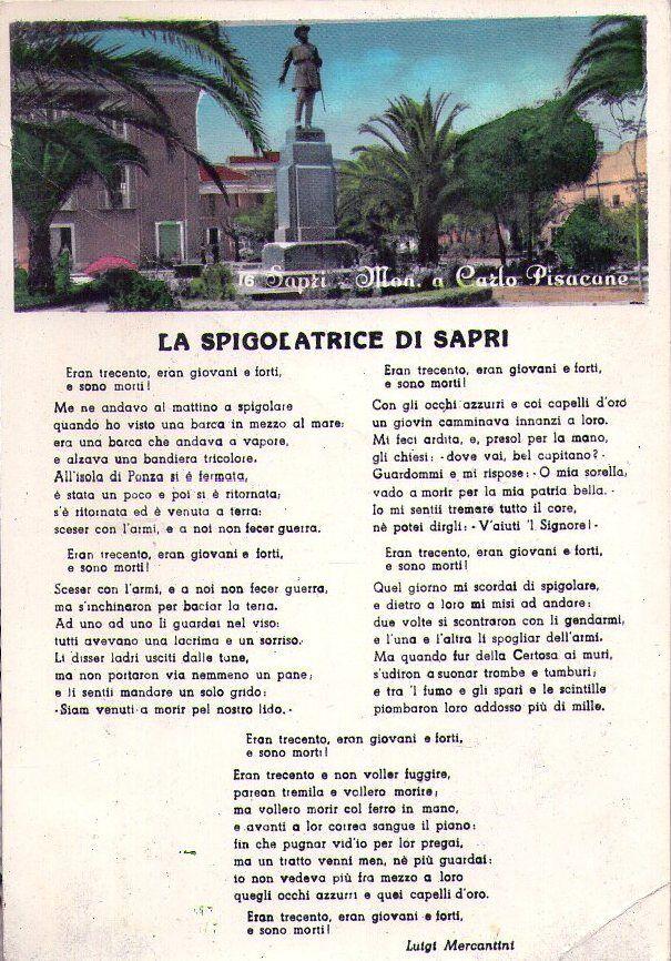 Immagine 1 - SAPRI (SALERNO) - MONUMENTO A CARLO PISACANE - RARA CARTOLINA - ANNI '50