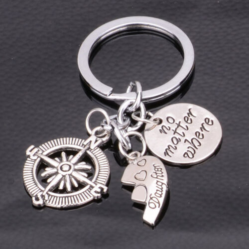 2P Compass Heart No Matter Where Mother Daughter Mom Girl Keyring Key Chain Gift