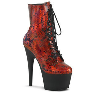 Pleaser-ADORE-1020SP-Women-039-s-Red-Hologram-Snake-Print-Black-Matte-Platform-Boots