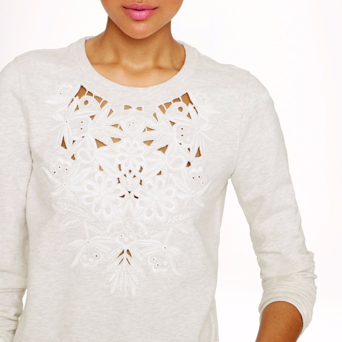 J.Crew Cutout floral sweatshirt S Small Grey Sweater Top Casual Sport Gym