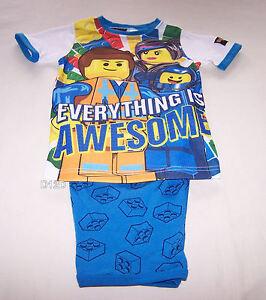 Lego-Movie-Boys-Everything-Is-Awesome-White-Blue-Printed-Pyjama-Set-Size-6-New