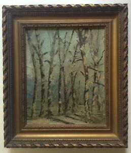 Tableau-Impressionniste-Ancien-Paysage-aux-Bouleaux-Huile-signee-LACOMBE-c1928