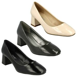 Spot On Ladies Block Heeled Court Shoes