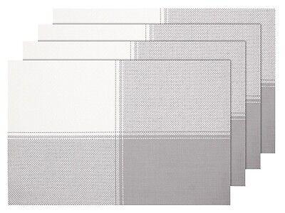 45 x 30 cm blanc TS-59 Le set de table a un bel aspect avec sa mati/ère tiss/ée et brillante /Él/égant Id/éal pour habiller vos tables de f/&eci Lot de 4 Sets de table de qualit/é sup/érieure en PVC tress/é