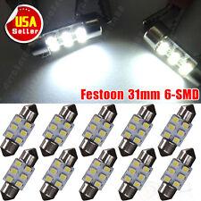 10 X Pure White Car Festoon Dome Map 31mm 6-SMD LED Light Bulbs DE3175 DE3022