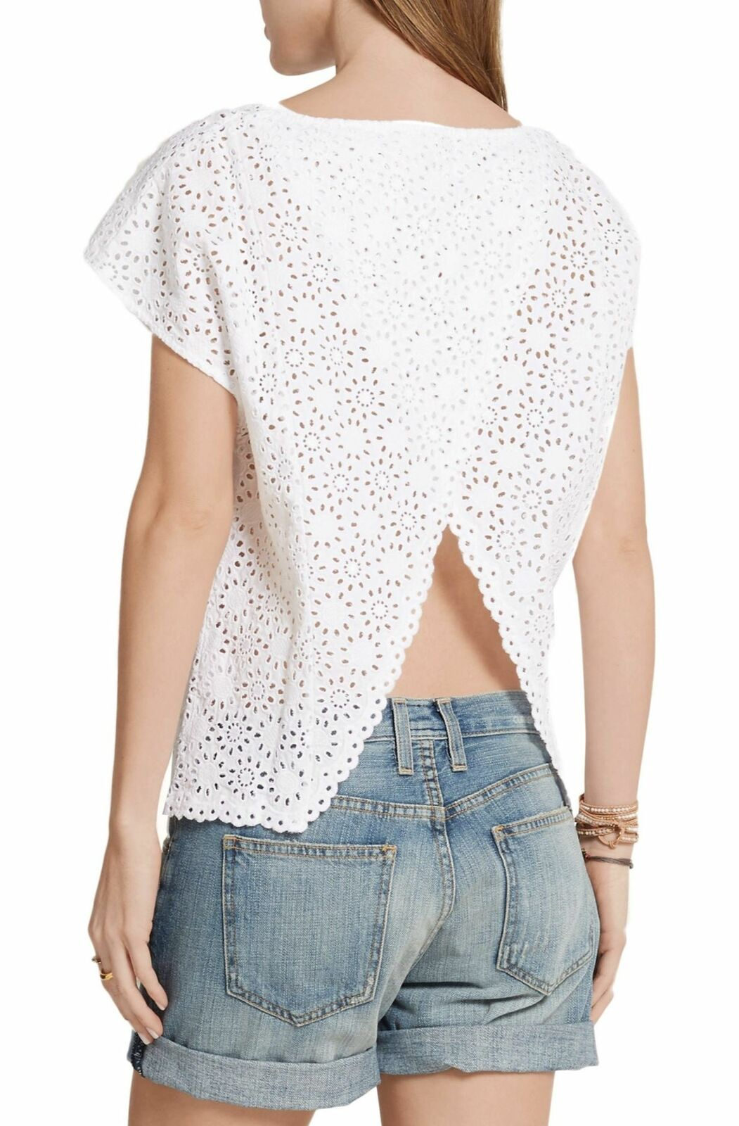 M.I.H. JEANS Weiß Open Back Broderie Anglaise Cotton Top S NEW WITH TAGS