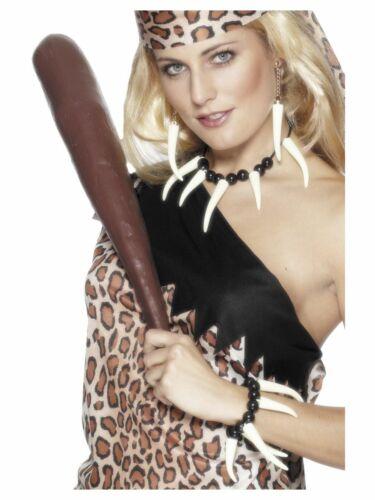 Voodoo Necklace Earrings Bracelet Set Cavewoman Fancy Dress Costume Accessory
