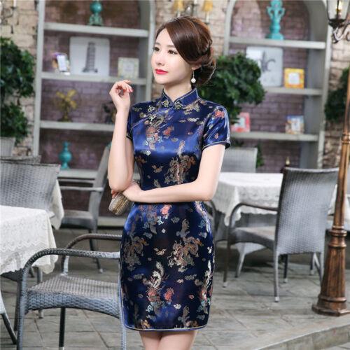 Traditional Chinese Women Silk Satin Mini Dress Cheongsam Qipao Blue S-6XL