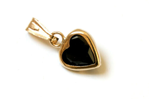 9ct Gold Black CZ Heart necklace Pendant no chain Gift Boxed Made in UK