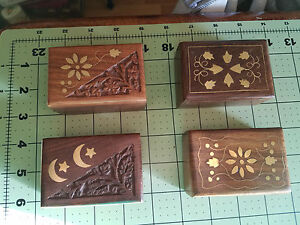 Vintage Wood Pill Box With Brass Inlay Stars and Moon