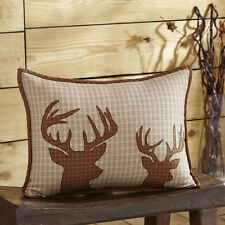 12 POINT BUCK ACCENT PILLOW : HUNTING CABIN LODGE DEER ANTLER THROW TOSS CUSHION