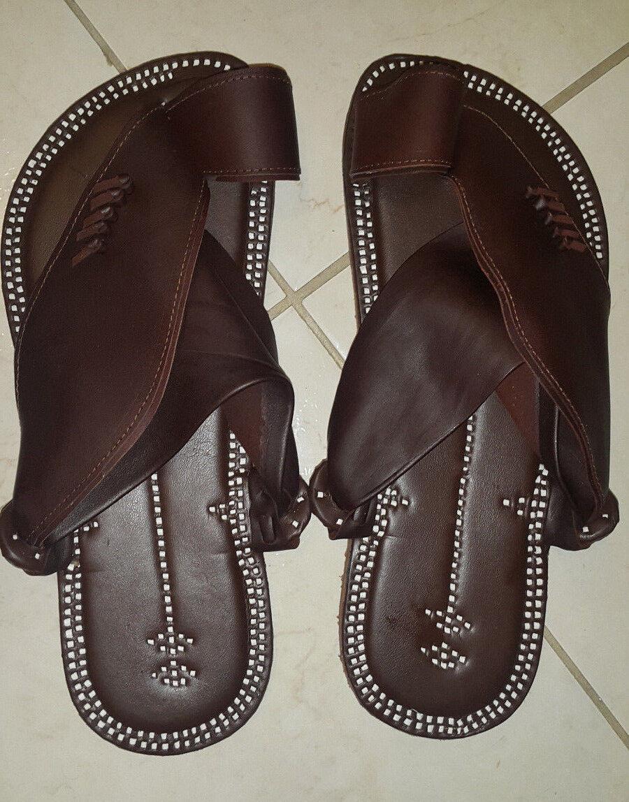 Dimensione 10 Islamic Arabian Arabian Arabian Leather Najdi Uomo Sandals Plain Marronee Free Ship 62cb60