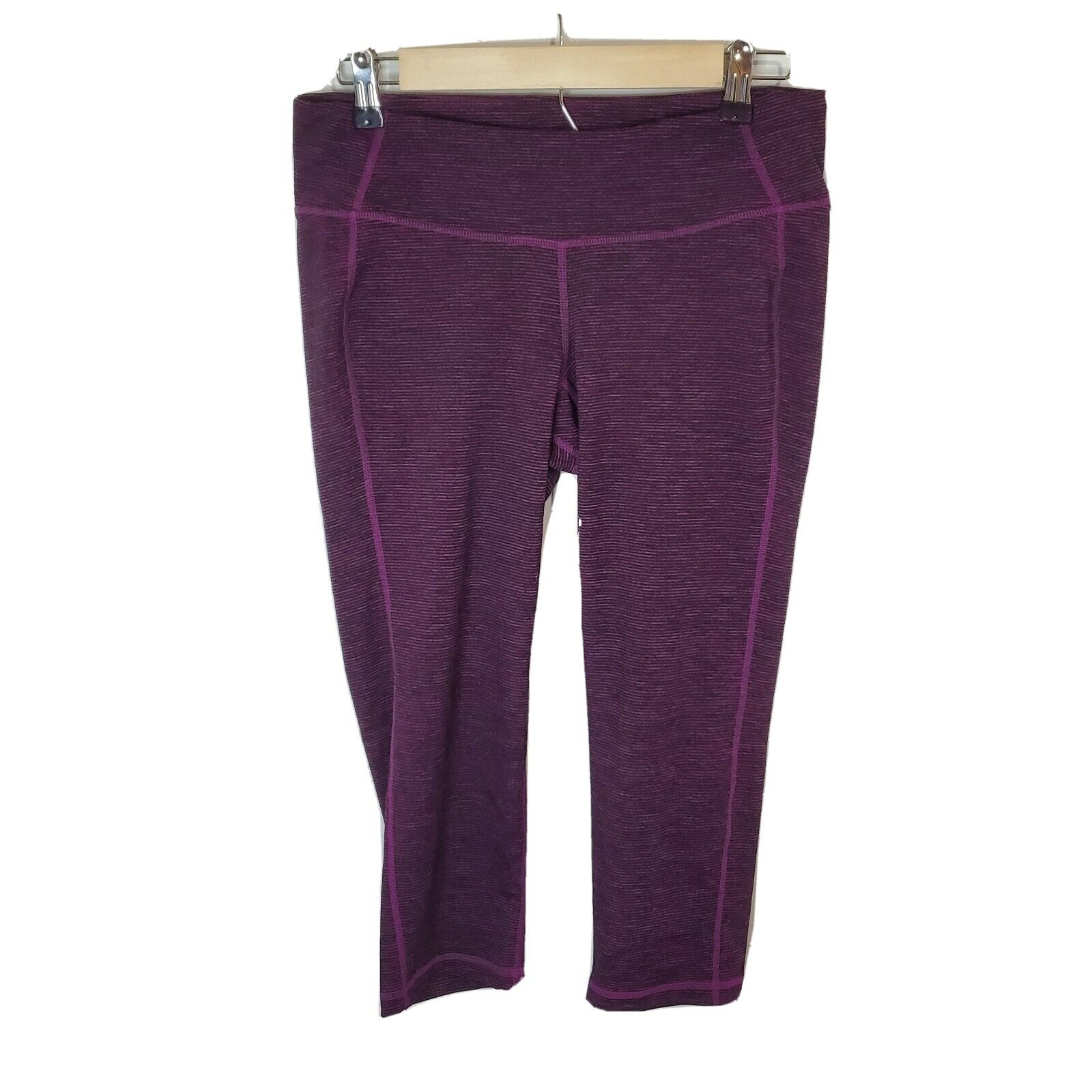 Old Navy Active Cropped Leggings Raspberry Stripes Waistband Pocket Large