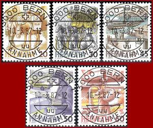 Schweiz-1987-Postbefoerderung-Ersttags-Vollstempel-Mi-1340yb-1344yb-SBK-733