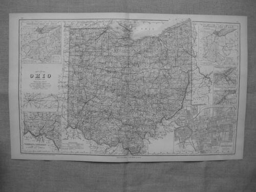 1877 OH RAIL MAP Pomeroy Millersport North Lima Cobalt Creston Flushing Canton