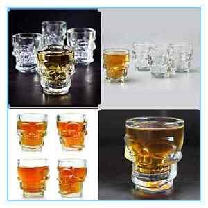 6 x 3D SKULL Shot Glasses Skeleton Drinking Spirit Glass Shooter Vodka Whiskey
