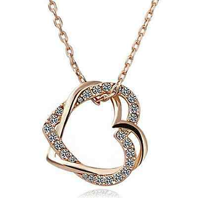 Edelstahl-Gold-Silber-Herz-Form-Liebes-Versprechen-Paar-hängende Halskette