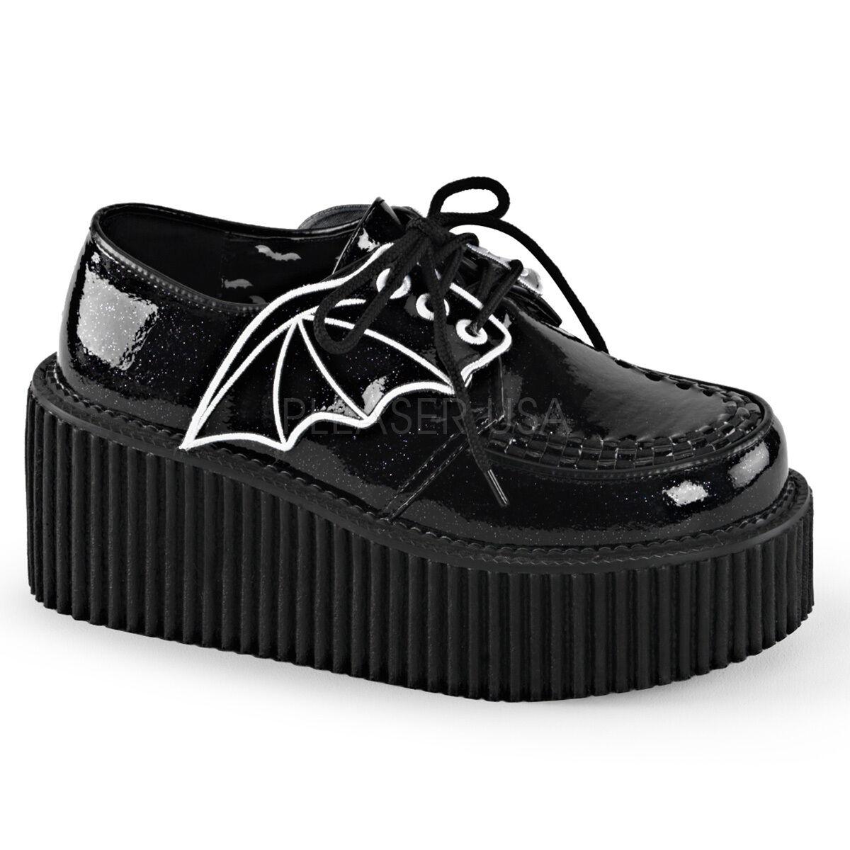 Demonia cre205 bgvy Punk Gótico Gótico Gótico Negro Brillo plataforma Bat Wing Creepers Zapatos  los nuevos estilos calientes