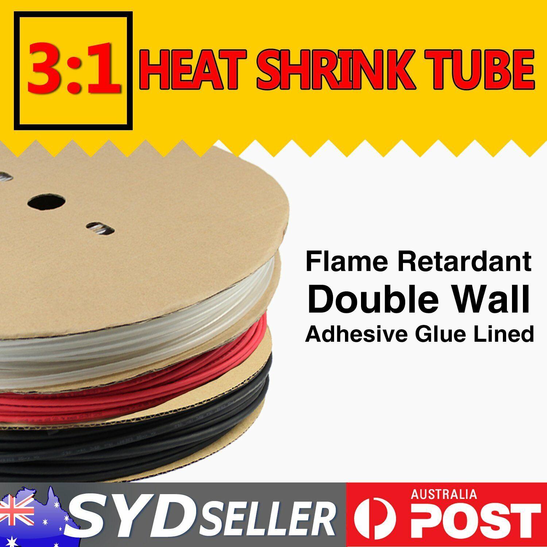 BU/_ 7size 3:1 Heatshrink Heat Shrink Tubing Adhesive Glue Lined Tube Sleeving Un
