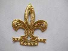 """2911 2-1/8""""x2-1/2"""" Gold/Golden Fleur-De-Lis Embroidery Iron On Applique Patch"""