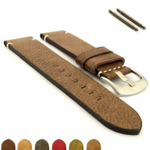 Genuine-Leather-Watch-Strap-Band-SS-Brushed-Buckle-20-22-24-Vintage-Paris-MM